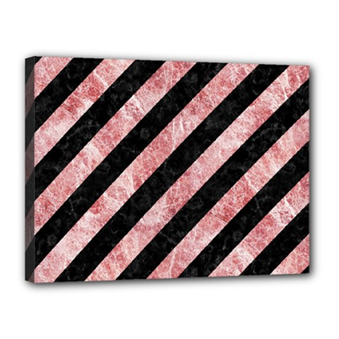Stripes3 Black Marble & Red & White Marble Canvas 16  X 12  (stretched)