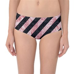 Stripes3 Black Marble & Red & White Marble Mid Waist Bikini Bottoms