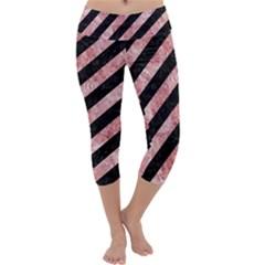 Stripes3 Black Marble & Red & White Marble Capri Yoga Leggings