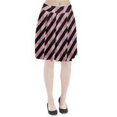 Stripes3 Black Marble & Red & White Marble Pleated Skirt