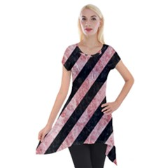 Stripes3 Black Marble & Red & White Marble Short Sleeve Side Drop Tunic