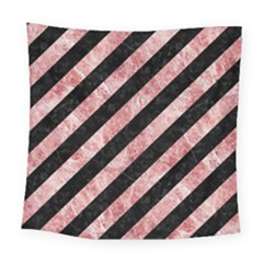 Stripes3 Black Marble & Red & White Marble Square Tapestry (large)