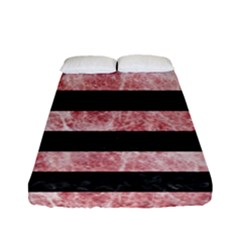Stripes2 Black Marble & Red & White Marble Fitted Sheet (full/ Double Size)