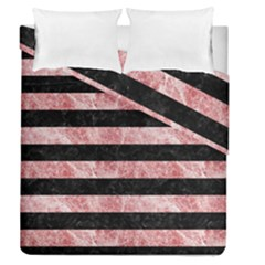 Stripes2 Black Marble & Red & White Marble Duvet Cover Double Side (queen Size)