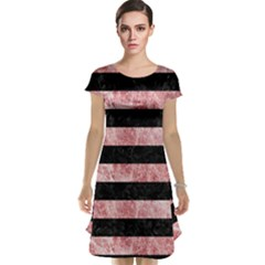 Stripes2 Black Marble & Red & White Marble Cap Sleeve Nightdress