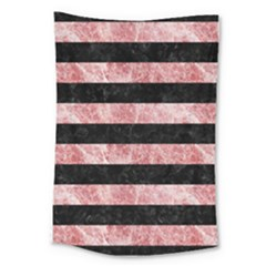 Stripes2 Black Marble & Red & White Marble Large Tapestry