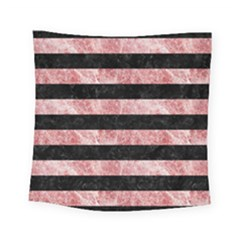 Stripes2 Black Marble & Red & White Marble Square Tapestry (small)