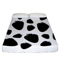 Black Strowberries Fitted Sheet (queen Size)