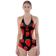 Strawberries pattern Cut-Out One Piece Swimsuit