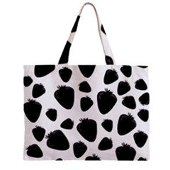 Black Strawberries Pattern Zipper Mini Tote Bag