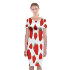 Decorative strawberries pattern Classic Short Sleeve Midi Dress