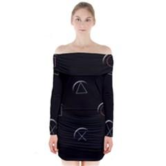 Joystick  Long Sleeve Off Shoulder Dress