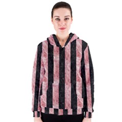Stripes1 Black Marble & Red & White Marble Women s Zipper Hoodie