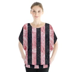 Stripes1 Black Marble & Red & White Marble Batwing Chiffon Blouse