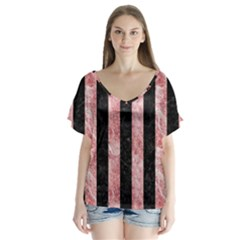 Stripes1 Black Marble & Red & White Marble V Neck Flutter Sleeve Top