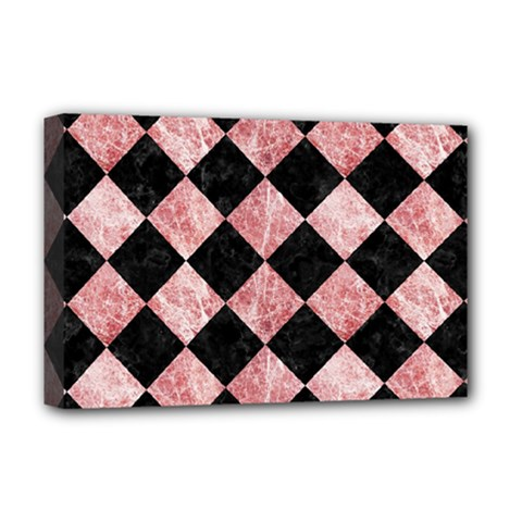 Square2 Black Marble & Red & White Marble Deluxe Canvas 18  X 12  (stretched)