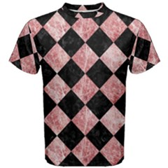 Square2 Black Marble & Red & White Marble Men s Cotton Tee