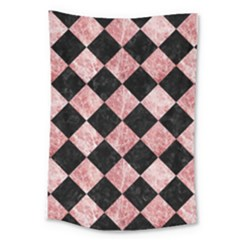 Square2 Black Marble & Red & White Marble Large Tapestry