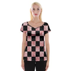 Square1 Black Marble & Red & White Marble Cap Sleeve Top