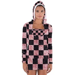 Square1 Black Marble & Red & White Marble Long Sleeve Hooded T Shirt