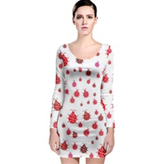 Beetle Animals Red Green Fly Long Sleeve Bodycon Dress