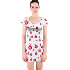 Beetle Animals Red Green Fly Short Sleeve Bodycon Dress