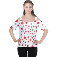 Beetle Animals Red Green Fly Women s Cutout Shoulder Tee