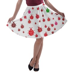Beetle Animals Red Green Fly A Line Skater Skirt