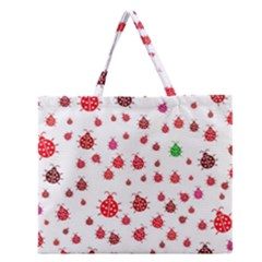 Beetle Animals Red Green Fly Zipper Large Tote Bag