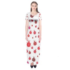 Beetle Animals Red Green Fly Short Sleeve Maxi Dress