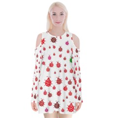 Beetle Animals Red Green Fly Velvet Long Sleeve Shoulder Cutout Dress