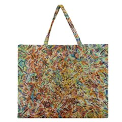 Art Modern Painting Acrylic Canvas Zipper Large Tote Bag