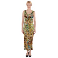 Art Modern Painting Acrylic Canvas Fitted Maxi Dress