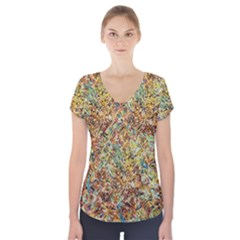 Art Modern Painting Acrylic Canvas Short Sleeve Front Detail Top