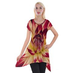 Bloom Blossom Close Up Flora Short Sleeve Side Drop Tunic