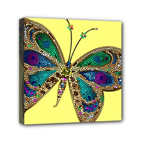 Butterfly Mosaic Yellow Colorful Mini Canvas 6  X 6