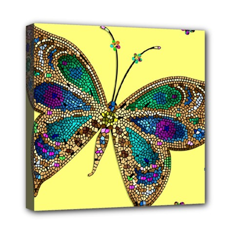 Butterfly Mosaic Yellow Colorful Mini Canvas 8  X 8