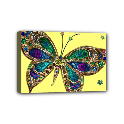 Butterfly Mosaic Yellow Colorful Mini Canvas 6  X 4