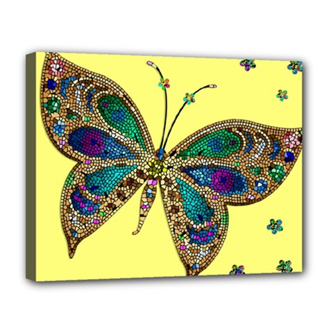 Butterfly Mosaic Yellow Colorful Canvas 14  X 11