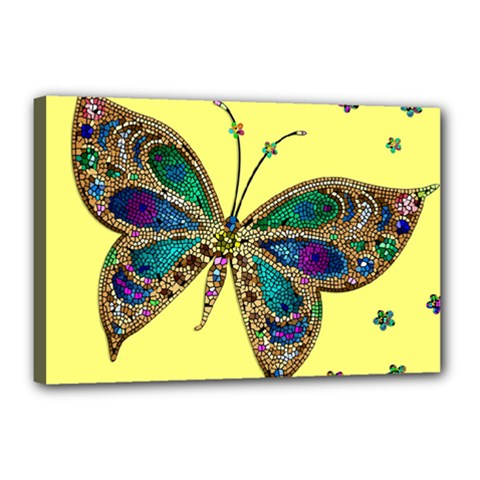 Butterfly Mosaic Yellow Colorful Canvas 18  X 12