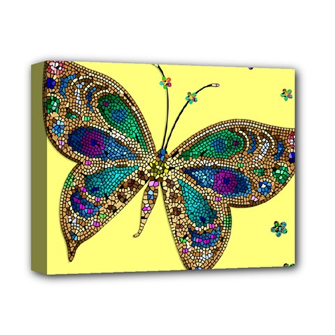 Butterfly Mosaic Yellow Colorful Deluxe Canvas 14  X 11