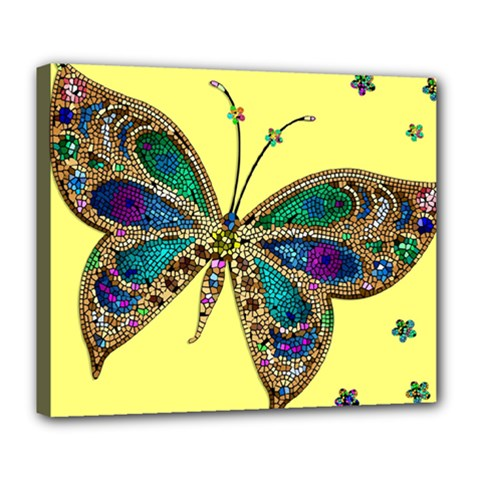Butterfly Mosaic Yellow Colorful Deluxe Canvas 24  X 20