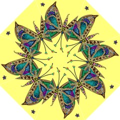 Butterfly Mosaic Yellow Colorful Hook Handle Umbrellas (large)