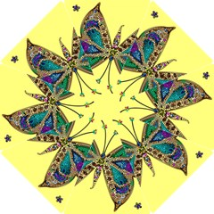 Butterfly Mosaic Yellow Colorful Hook Handle Umbrellas (small)