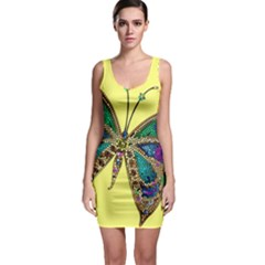 Butterfly Mosaic Yellow Colorful Sleeveless Bodycon Dress