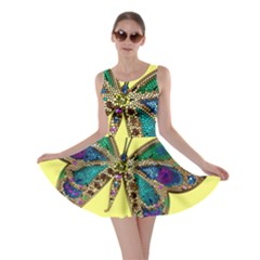 Butterfly Mosaic Yellow Colorful Skater Dress