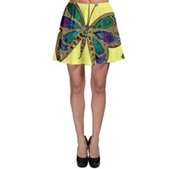 Butterfly Mosaic Yellow Colorful Skater Skirt