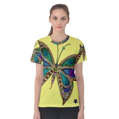 Butterfly Mosaic Yellow Colorful Women s Cotton Tee