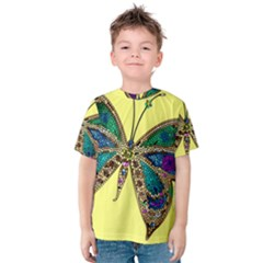 Butterfly Mosaic Yellow Colorful Kids  Cotton Tee