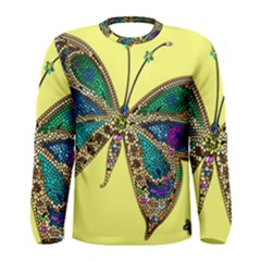 Butterfly Mosaic Yellow Colorful Men s Long Sleeve Tee